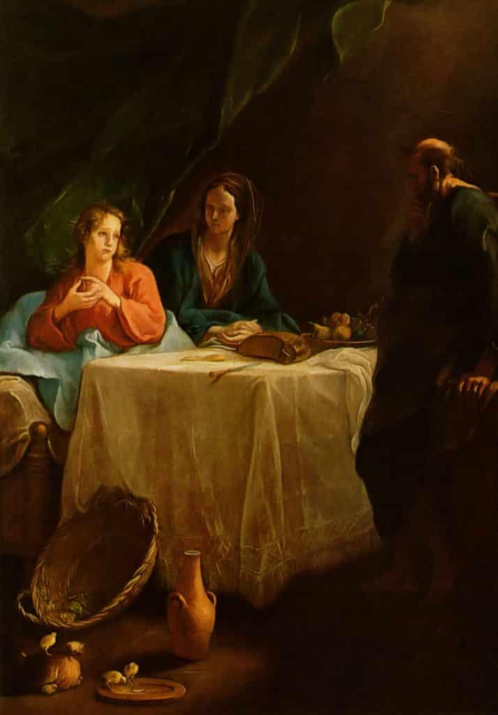 Kremser Schmidt Gemälde: Jesus beim gemeinsamen Mahl mit Maria und Joseph