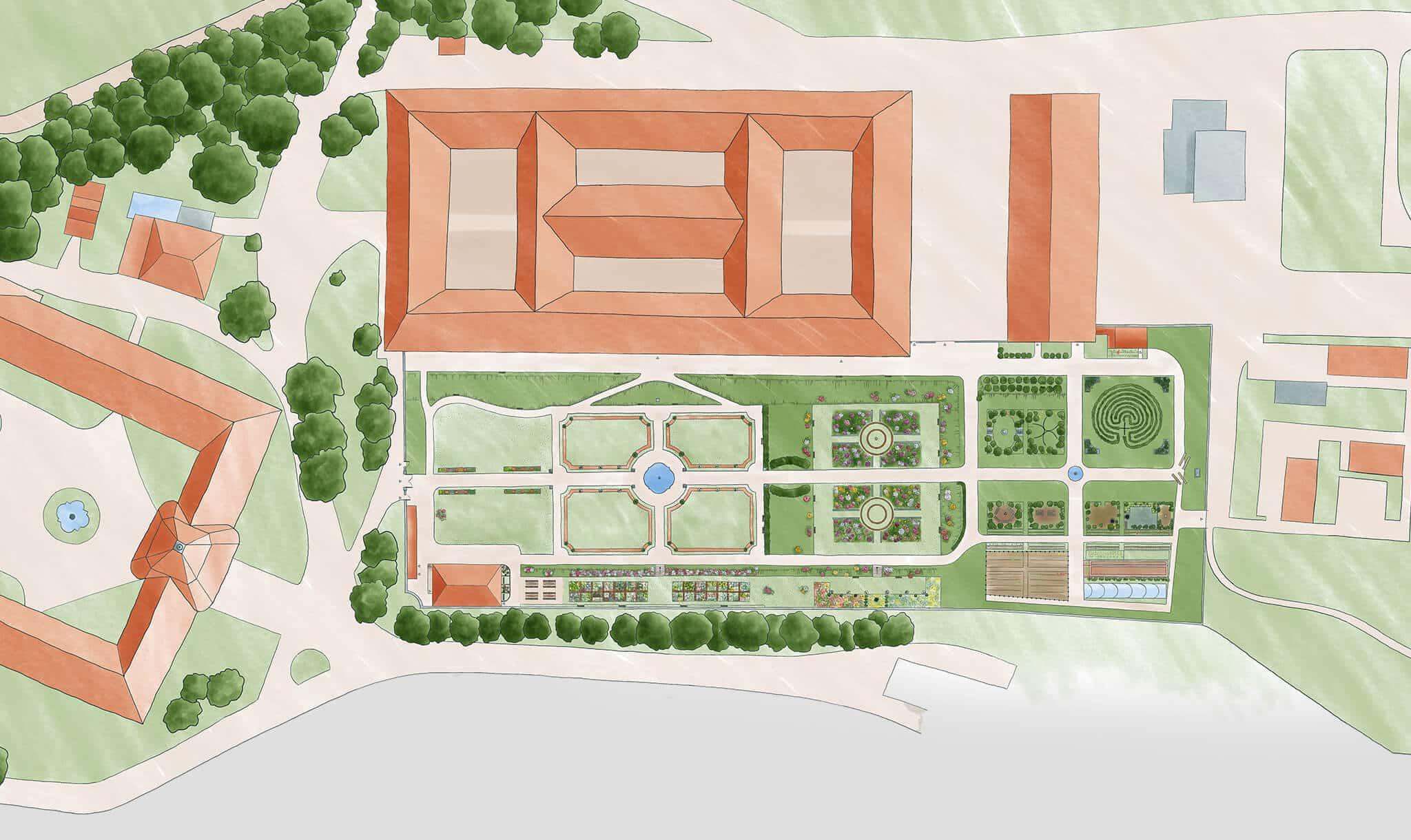 Gartenplan für den Hofgarten des Stifts Seitenstetten